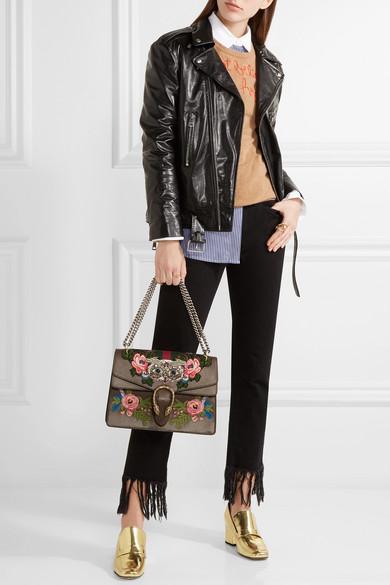 a8516b5ad4f3 Gucci | Dionysus medium appliquéd embellished leather shoulder bag ...