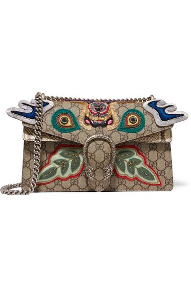 gucci female gucci dionysus small appliqued embellished coated canvas and python shoulder bag beige
