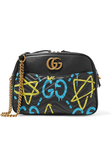 gucci female gucci guccighost printed leather shoulder bag black