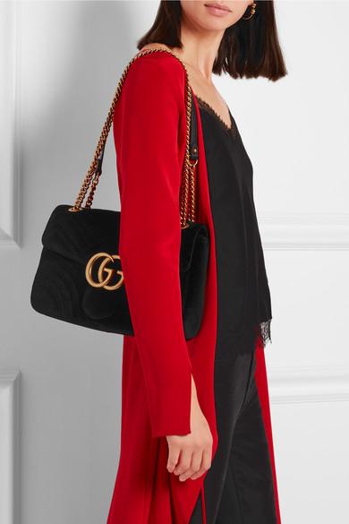 76d5319c8bf3 Gucci | GG Marmont medium quilted velvet shoulder bag | NET-A-PORTER.COM