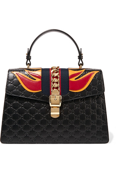Gucci - Sylvie Appliquéd Embossed Leather Tote - Black