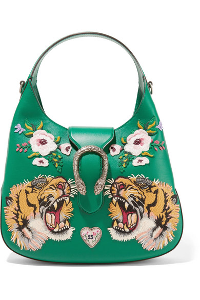 Gucci - Dionysus Small Appliquéd Leather Tote - Emerald