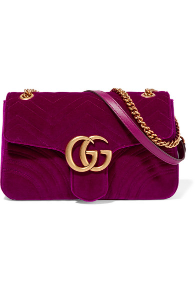 d229b87f4030 Gucci | GG Marmont medium quilted velvet shoulder bag | NET-A-PORTER.COM