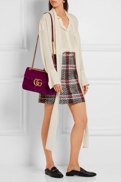 00596a6877 GG Marmont medium quilted velvet shoulder bag