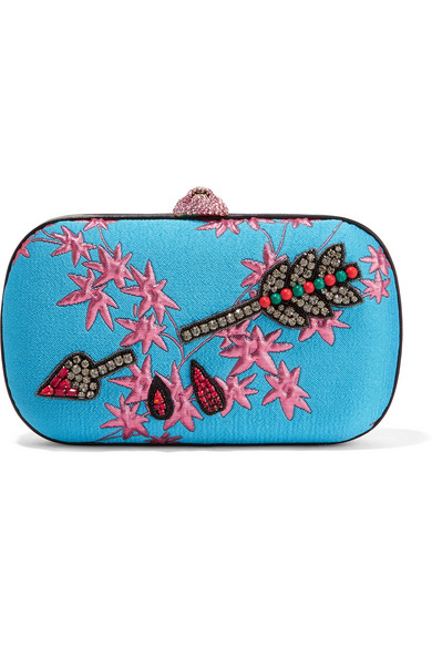 gucci female 133556 gucci broadway embellished jacquard clutch azure