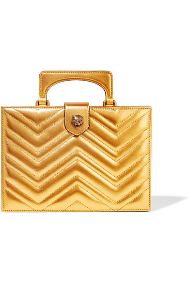Gucci - Broadway Box Quilted Metallic Leather Clutch - Gold