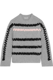 Appliquéd wool sweater