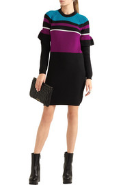 Color-block ribbed wool mini dress