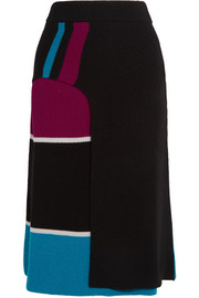 Color-block ribbed wool wrap-effect midi skirt