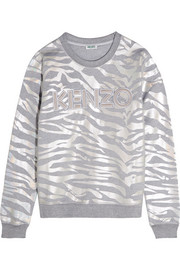 Iridescent tiger-print cotton-jersey sweatshirt