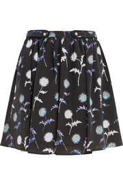Printed silk mini skirt