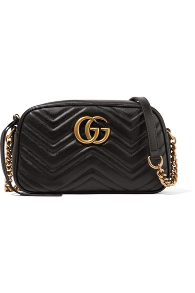 gucci female gucci gg marmont camera small quilted leather shoulder bag black