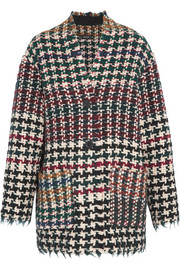 Diana frayed houndstooth tweed coat