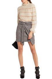 Isabel Marant Sondra pintucked silk-georgette and lace turtleneck blouse