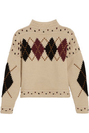 Isabel Marant Glens argyle intarsia wool and alpaca-blend sweater