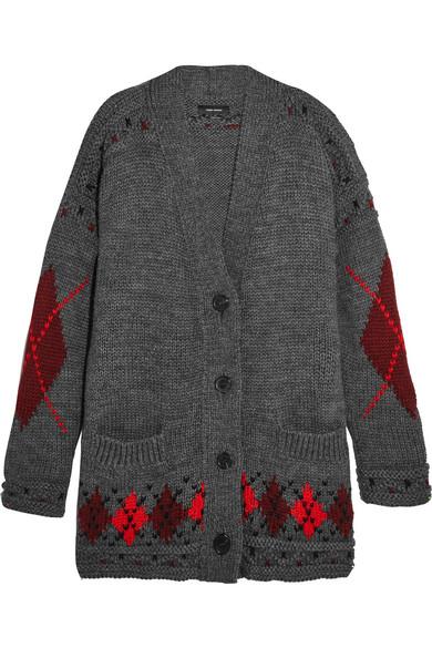 1580df04e woman geena oversized argyle wool and alpaca-blend cardigan gray