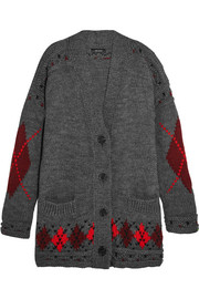 Isabel Marant Geena oversized argyle wool and alpaca-blend cardigan