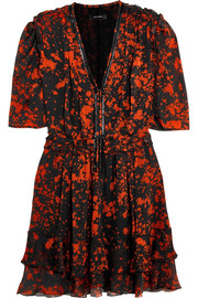 Isabel Marant Irina leather-trimmed printed stretch-silk mini dress
