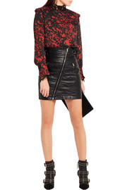 Isabel Marant Ikara ruffled printed stretch-silk crepe blouse