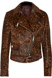 Eston leopard-print calf hair biker jacket