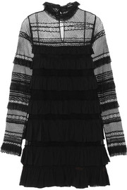 Trevor ruffled silk-georgette and lace turtleneck mini dress