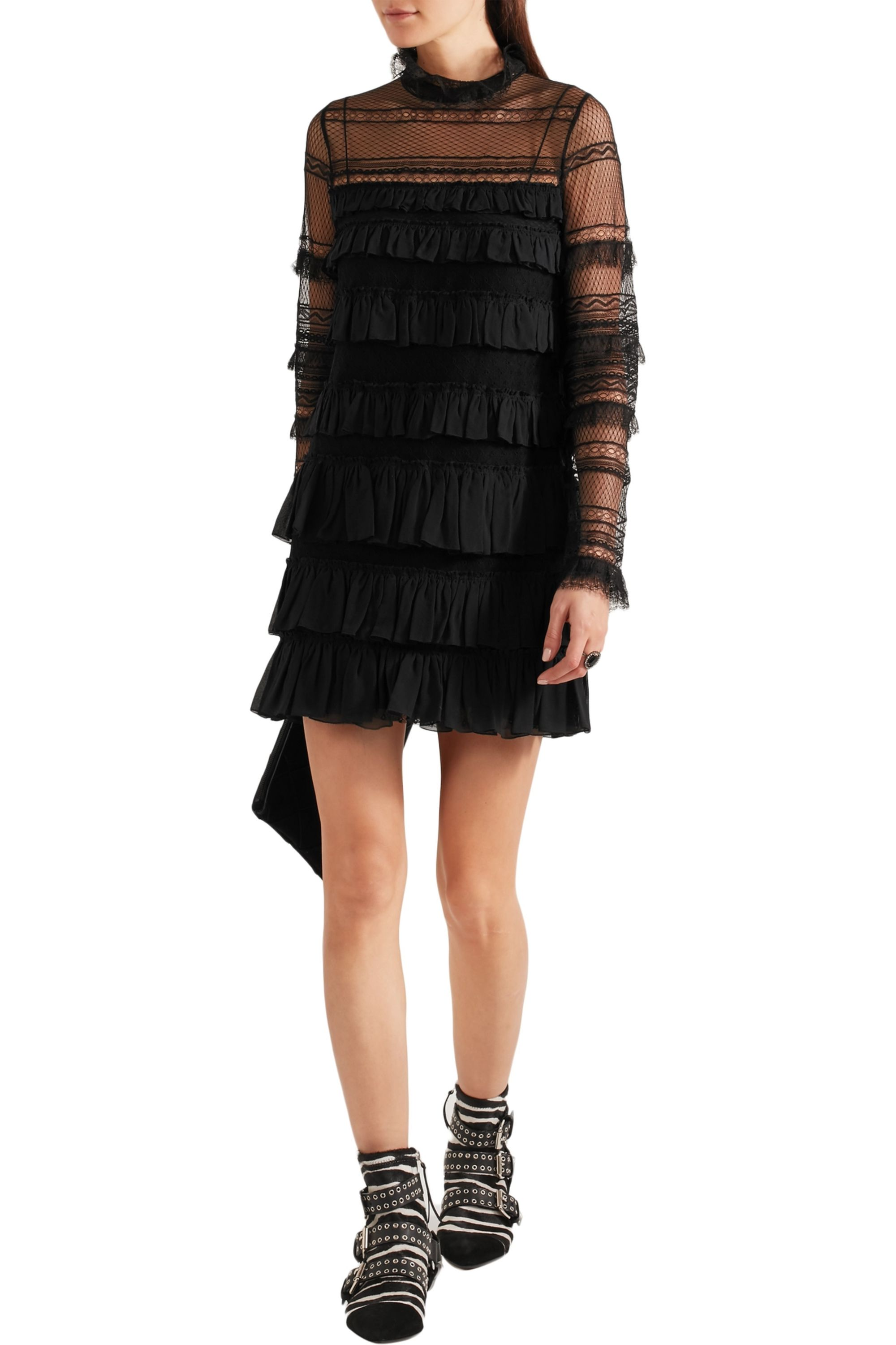 Isabel Marant Trevor ruffled silk-georgette and lace turtleneck mini dress