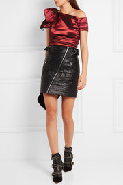 Isabel Marant Newton ruched one-shoulder stretch-taffeta top