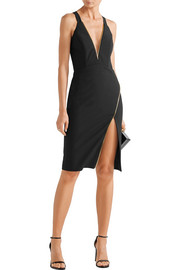 Zip-detailed stretch-crepe dress
