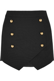 Wrap-effect crepe mini skirt