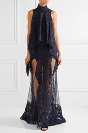 Layered embroidered tulle gown
