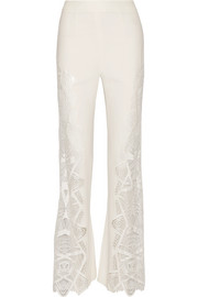 Guipure lace-paneled crepe flared pants