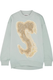 Karvel oversized appliquéd cotton-blend sweatshirt