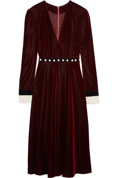 Philosophy di Lorenzo Serafini - Embellished Lace-trimmed Velvet Dress - Merlot