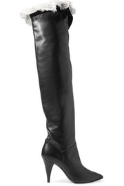 Lace and velvet-trimmed leather knee boots