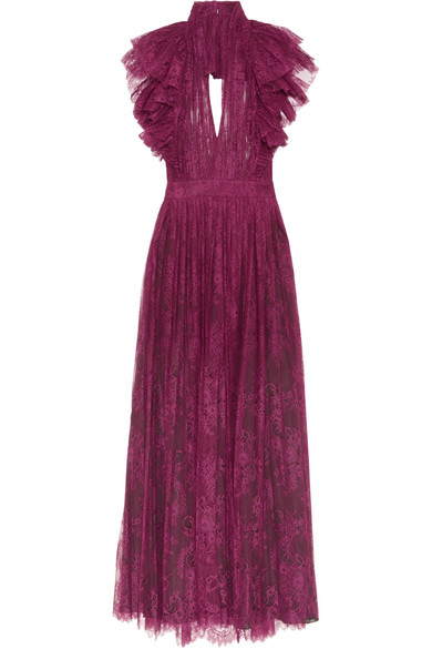 Philosophy di Lorenzo Serafini - Open-back Ruffled Plissé-lace Dress - Plum