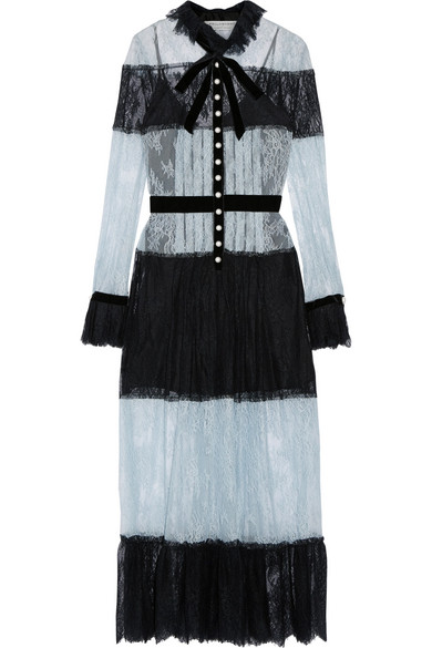 Philosophy di Lorenzo Serafini - Pussy-bow Velvet-trimmed Lace Dress - Sky blue