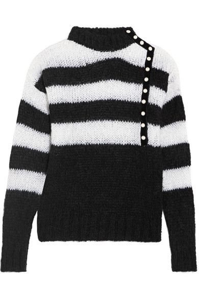 Philosophy di Lorenzo Serafini - Faux Pearl-embellished Striped Mohair-blend Sweater - Black