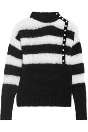 Faux pearl-embellished striped mohair-blend sweater