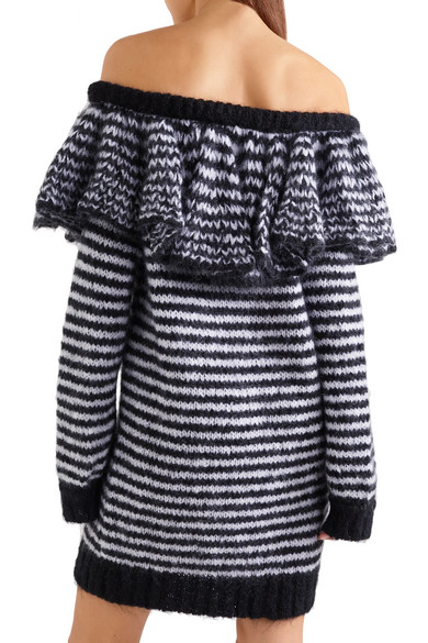 Philosophy di Lorenzo Serafini. Ruffled striped off-the-shoulder mohair-blend  sweater dress. $521.50. Play