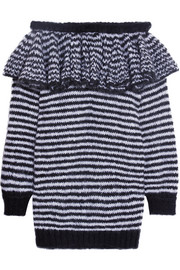 Ruffled striped off-the-shoulder mohair-blend sweater dress