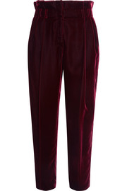 Bow-embellished velvet tapered pants