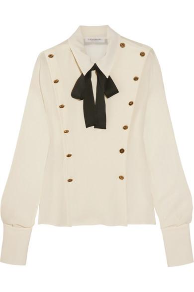 Philosophy di Lorenzo Serafini - Button-embellished Pussy-bow Chiffon Blouse - White