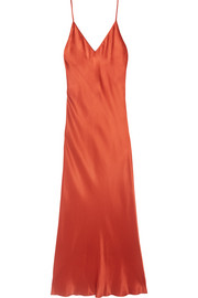Bias silk-charmeuse midi dress