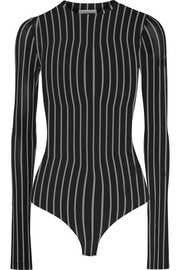 Striped stretch-jersey bodysuit