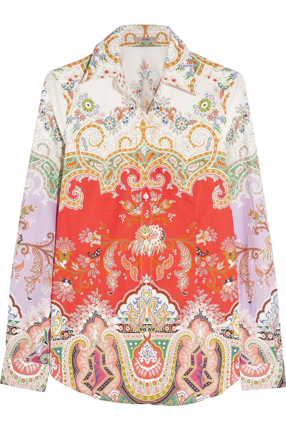 Etro Printed Stretch-Cotton Poplin Shirt, Size: 42