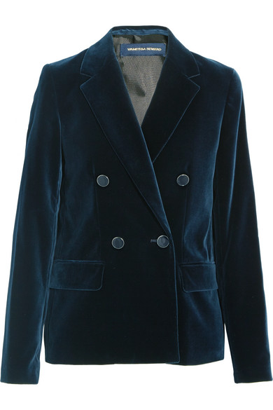 Vanessa Seward - Clive Double-breasted Velvet Blazer - Navy