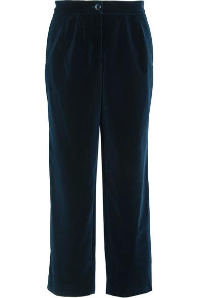 Vanessa Seward - Acronyme Cropped Velvet Straight-leg Pants - Navy