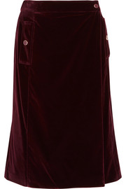 Aydee cotton-blend velvet wrap skirt