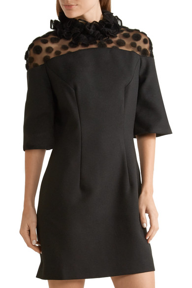 House of Holland. Ruffled crepe and flocked tulle mini dress