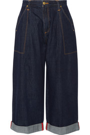 + Lee cropped mid-rise wide-leg jeans
